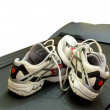 Modern trainers on the treadmill — Stock Photo