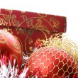Stock Photo: Christmas balls and box