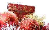 Christmas balls and box — Stock Photo