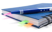 Blue notebook with bookmarks — Stock Photo