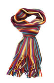 Multi-color woolen scarf on white — Stock Photo