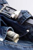 Dollars in jeans pocket — Stock Photo