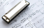 Harmonica on notes background — Stock Photo