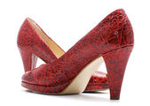 Pair of red fashionable woman shoes — Stock Photo
