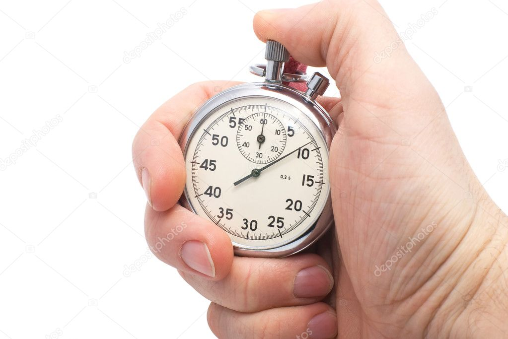 Hand holding old mechanical stopwatch � Stock Photo � tgellan #2019491