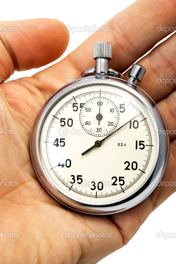 Old mechanical stopwatch lying on hand isolated on white  Stock Photo #2019524