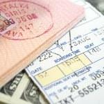 Ticket passport and dollars — Stock Photo #2020636