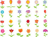 Conjunto de flores — Vector de stock