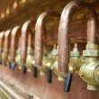 Lots of taps in brewery - Stockfoto