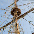 Rigging of big sailing ship — Stock Photo