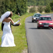 Just married couple trying to hitchhike — Stock Photo