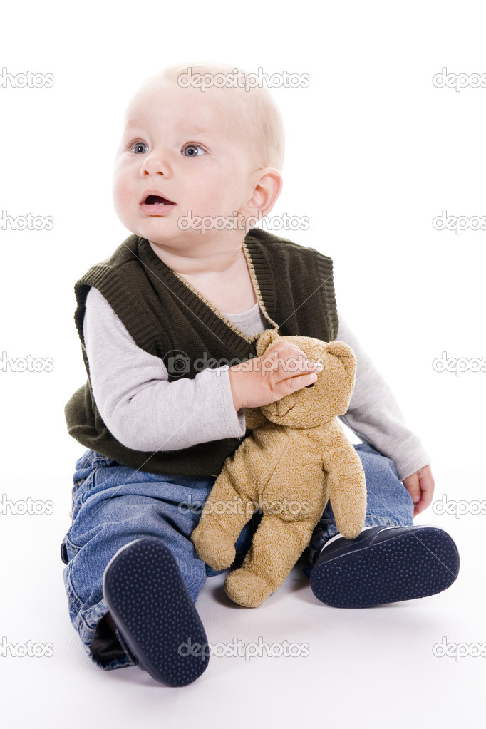 Curious little boy over white background — Stock Photo #2018984