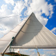 Mast of my small private yacht - sailing on the — Stock Photo