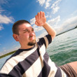 My small private yacht - sailing on the lake — Stock Photo