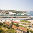 Large vessel in Dubrovnik harbour — Stock Photo