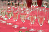 Champaign glasses on wedding party — Stock Photo