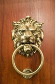Door knocker on the doors with small depth of fi — Stock Photo