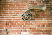 Old music instrument on the wall — Stock Photo