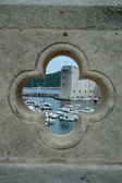 View on the port in Dubrovnik from the hole in b — Stock Photo