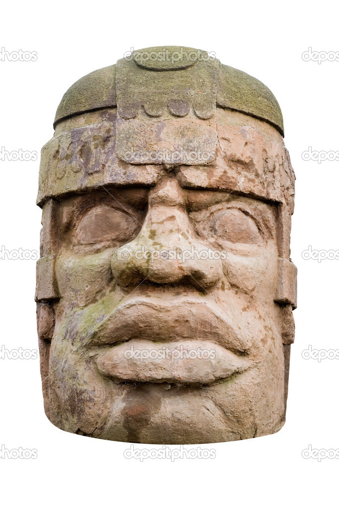 Ancient olmec head isolated on white background — Stock Photo #2024808
