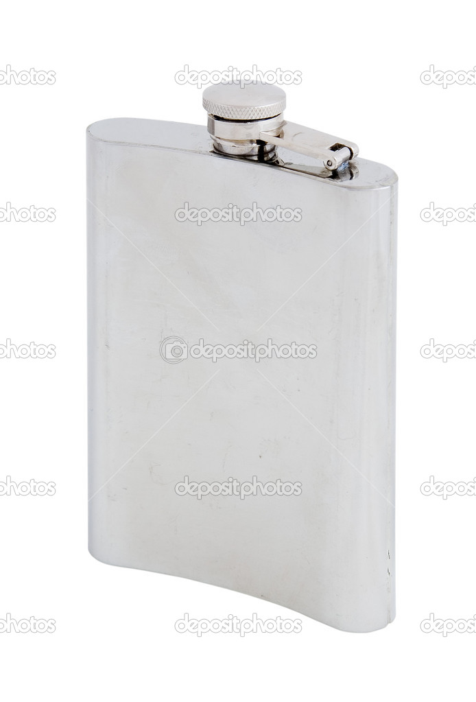 Hip flask isolated on the white background  Stock Photo #2029413