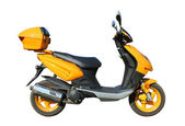 Yellow scooter with clipping path — Stock Photo