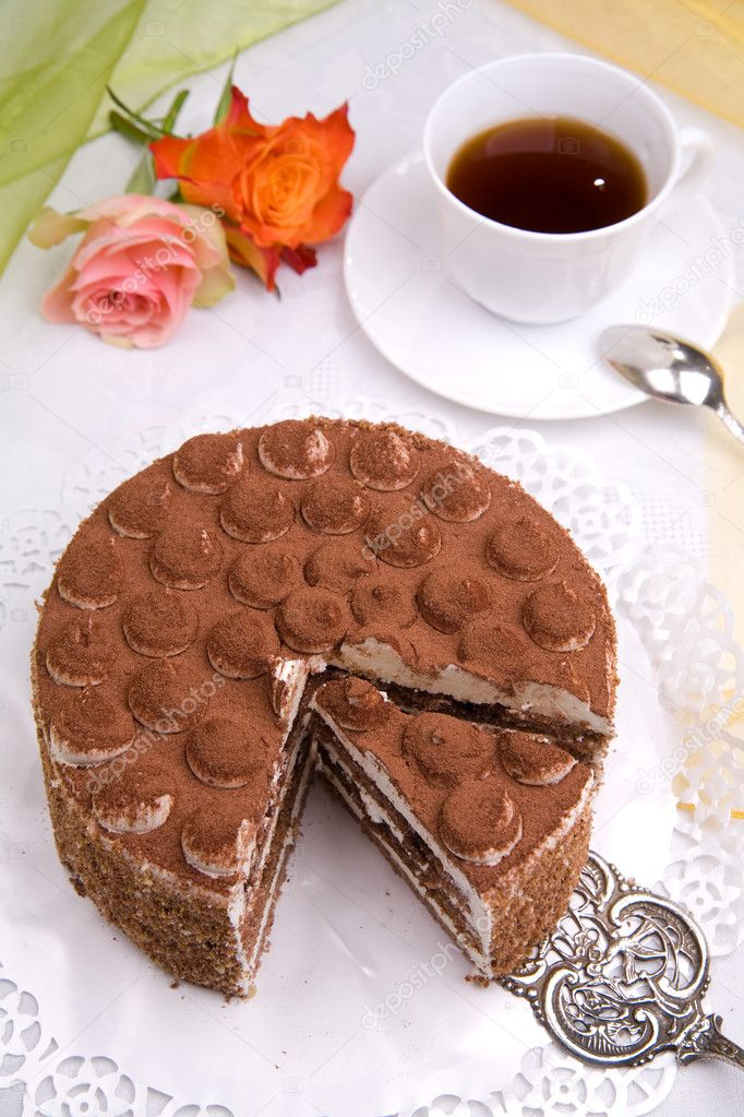 Piece of delicious cake with coffee — Stock Photo #2040703