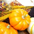 Pumpkins And Indian Corn - Stock Photo