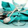 Royalty-Free Stock Photo: Turquoise Plate And Napkin