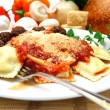 Ravioli And Meatballs - Stock Photo