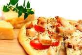 Chicken And Asiago Cheese Pizza — Stock Photo