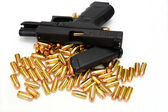 Black Handgun And Bullets — Stock Photo