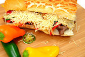 Steak And Sweet Pepper Sandwich — Stock Photo