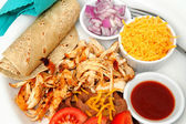 Chicken Tacos And Refried Beans — Stock Photo