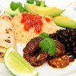 Shrimp Black Bean And Rice Plate — Stock Photo