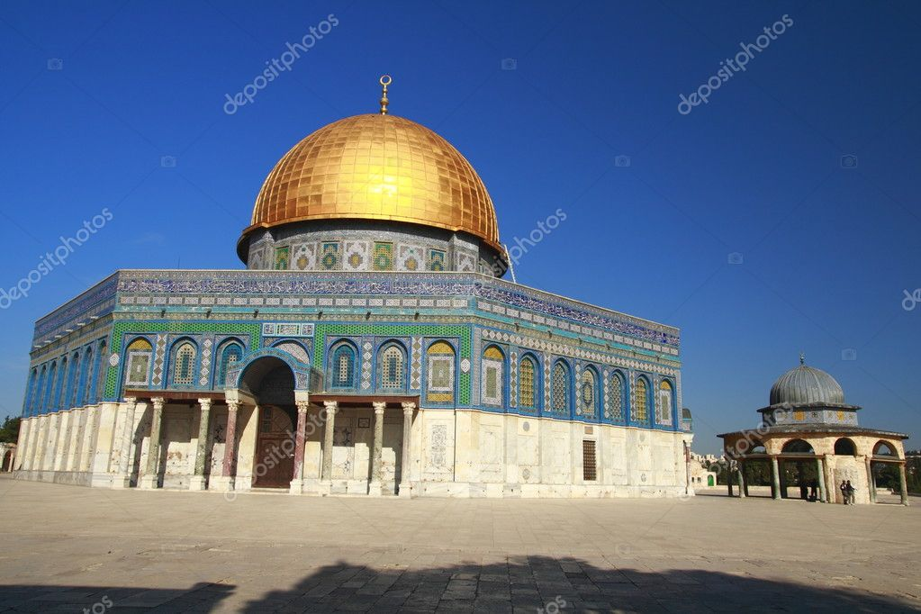 The Dome of the Rock is the best known landmarks of Jerusalem, and one of the major shrines of Islam  Stock Photo #1989768