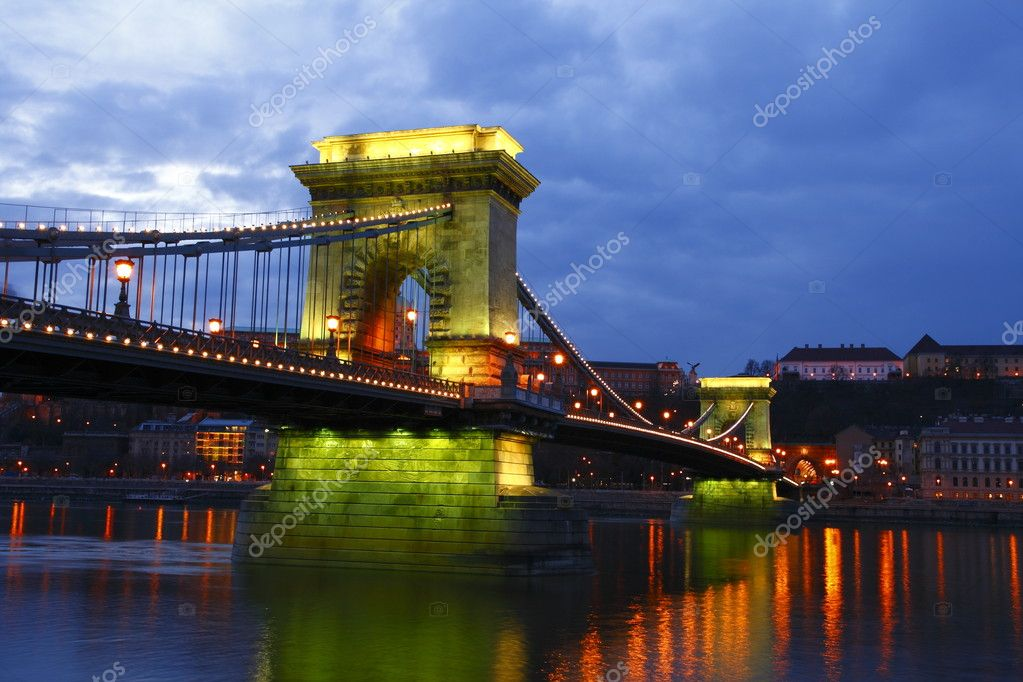The Chain Bridge at dusk, Budapest  Stock Photo #1990875