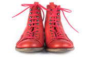 Red shoes with laces — Stock Photo