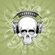 Stock vektor: Skull with headphones