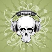 Schedel met koptelefoon — Stockvector