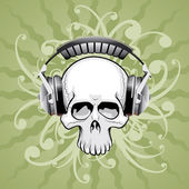 Skull with headphones — Stok Vektör