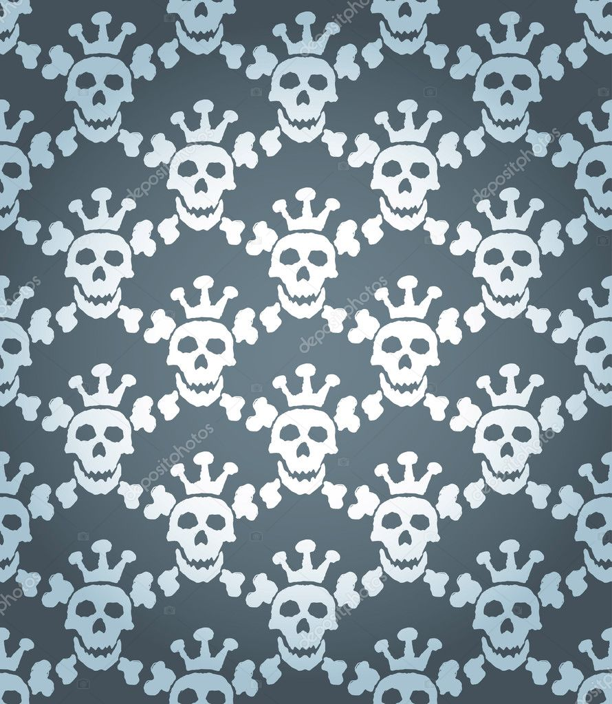 Seamless background from a skull ornament, Fashionable modern wallpaper or textile — Stock Vector #2031313