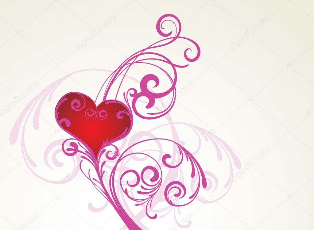 Vector background with floral ornament and heart — Stock Vector #2031424