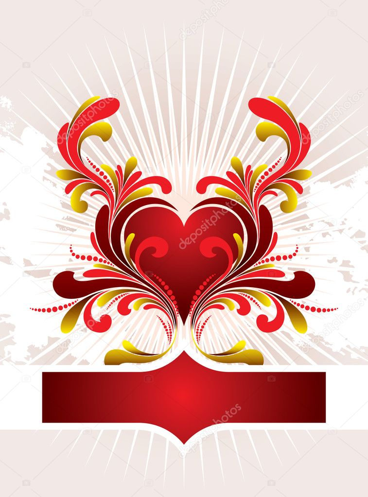Vector heart with floral ornament — Stock Vector #2031487