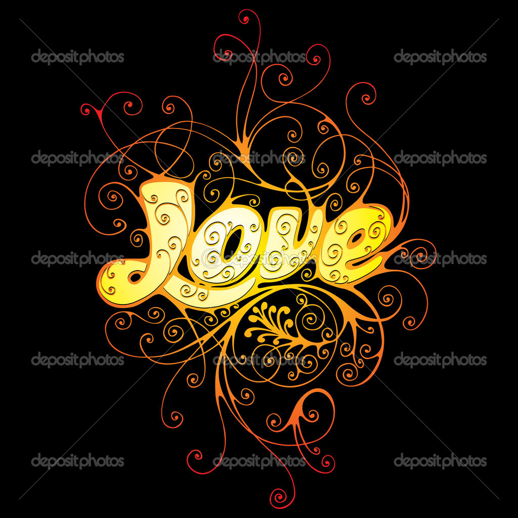 Vector ornament In flower style. The word love is executed without application of a ready font, it — Stock Vector #2031978