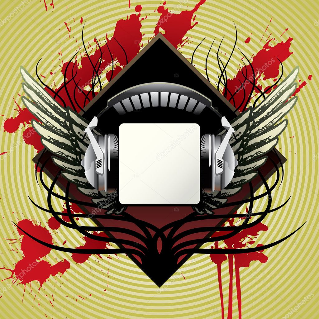 Vector headphones with wings, for cd or t-shirt  Stock Vector #2032020