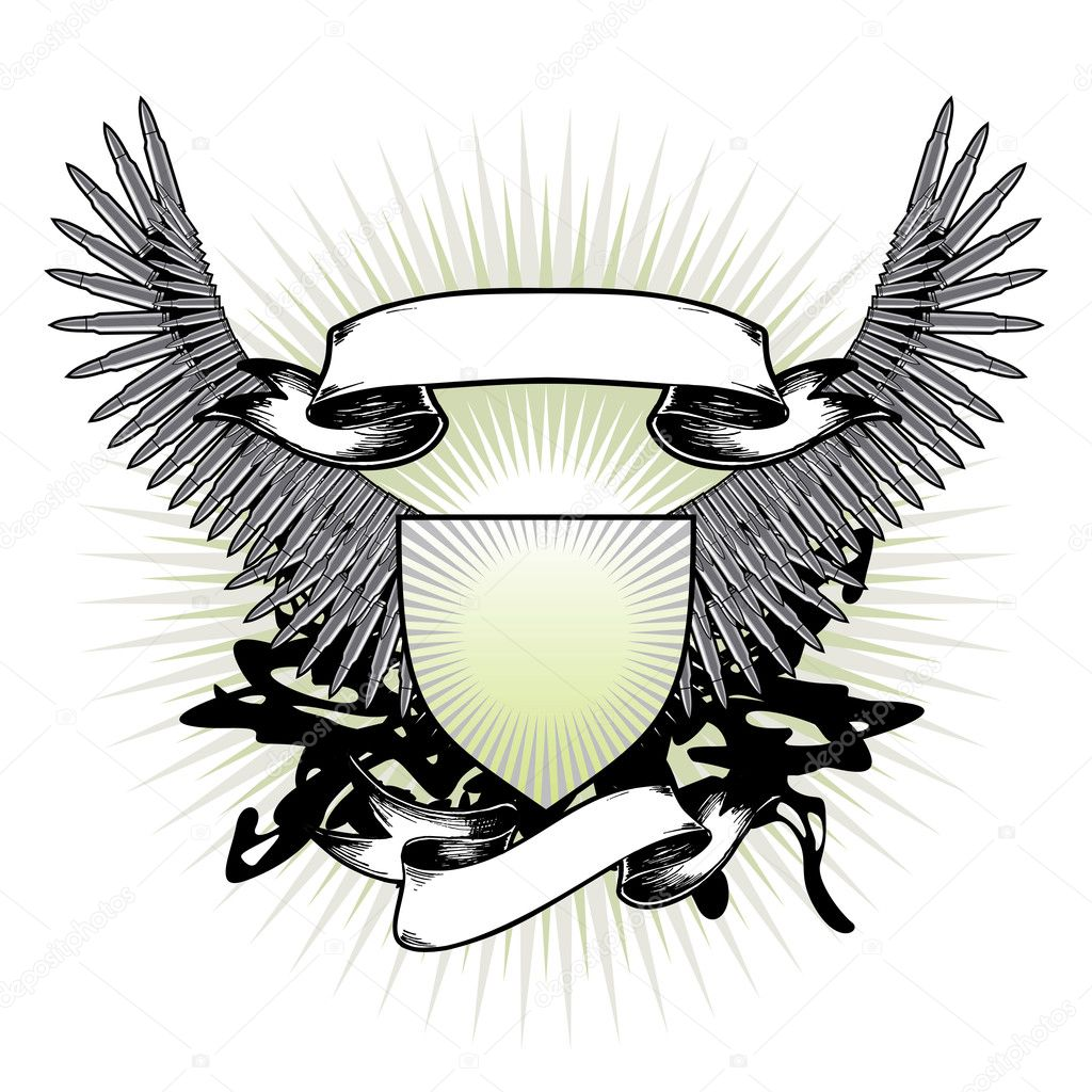 The stylized vector arms, wings are made of weapon patrons — Stock Vector #2032132