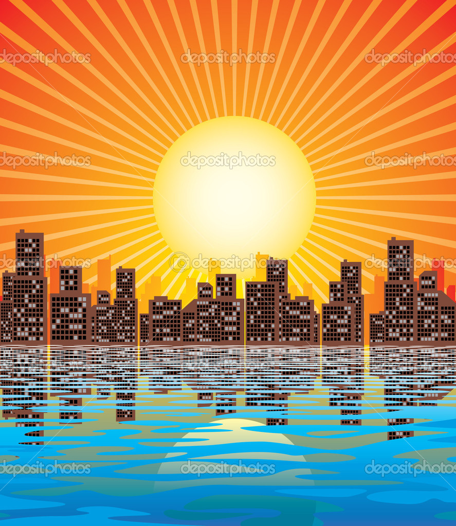 Vector image of abstract city and rising sun  Stock Vector #2032195