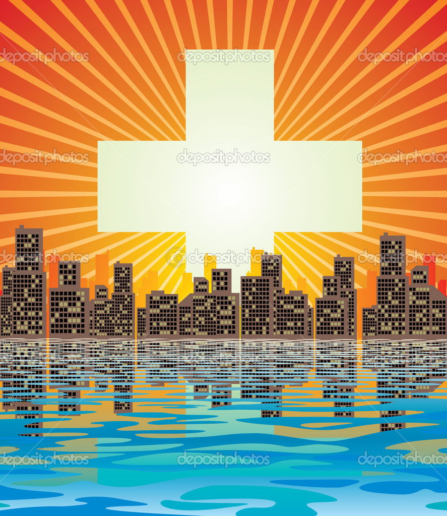 Vector image of abstract city and rising sun  Stock Vector #2032214