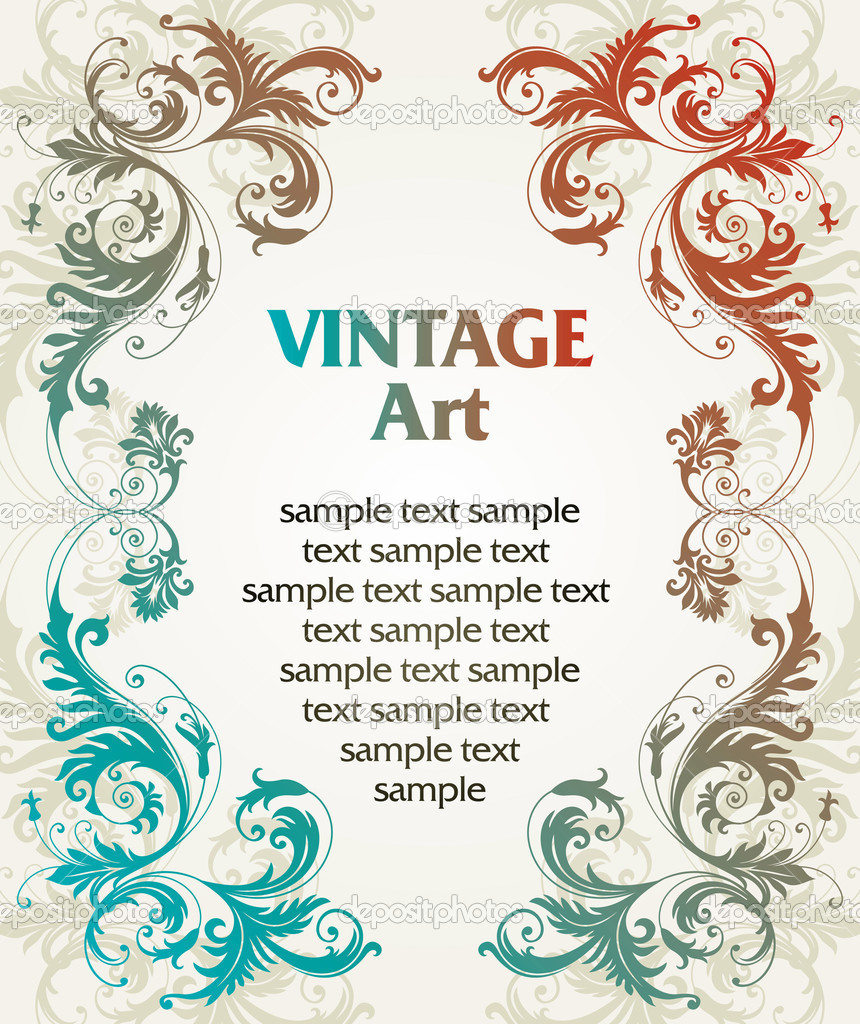 Vector vintage template frame In flower style — Stock Vector #2032614